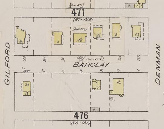 Detail from Insurance plan - City of Vancouver, July 1897, revised June 1901 - Sheet 43 - Coal Harbour to Comox Street and Bidwell Street to Stanley Park