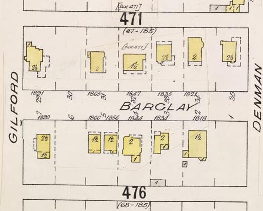Detail from Insurance plan - City of Vancouver, July 1897, revised June 1903 - Sheet 43 - Coal Harbour to Comox Street and Bidwell Street to Stanley Park