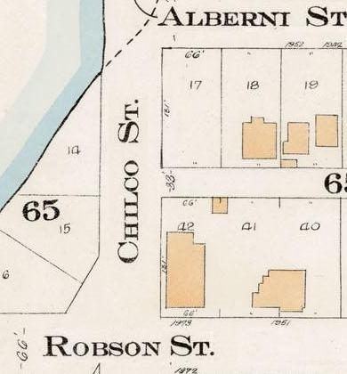 Chilco Street between Alberni Street and Robson Street - Detail from Goad's Atlas of the city of Vancouver - 1912 - Vol 1 - Plate 7 - Coal Harbour to Barclay Street