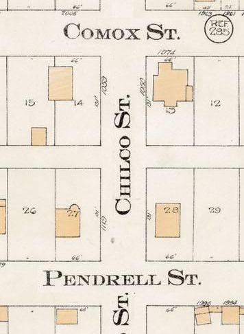Chilco Street between Comox Street and Pendrell Street - Detail from Goad's Atlas of the city of Vancouver - 1912 - Vol 1 - Plate 8 - Barclay Street to English Bay and Cardero Street to Stanley Park