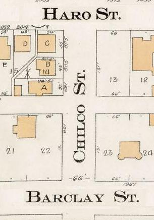 Chilco Street between Haro Street and Barclay Street - Detail from Goad's Atlas of the city of Vancouver - 1912 - Vol 1 - Plate 7 - Coal Harbour to Barclay Street and Cardero Street to Stanley Park