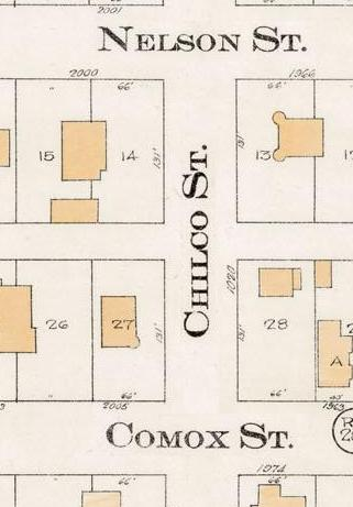 Chilco Street between Nelson Street and Comox Street - Detail from Goad's Atlas of the city of Vancouver - 1912 - Vol 1 - Plate 8 - Barclay Street to English Bay and Cardero Street to Stanley Park