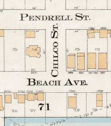 Chilco Street between Pendrell Street and English Bay - Detail from Goad's Atlas of the city of Vancouver - 1912 - Vol 1 - Plate 8 - Barclay Street to English Bay and Cardero Street to Stanley Park