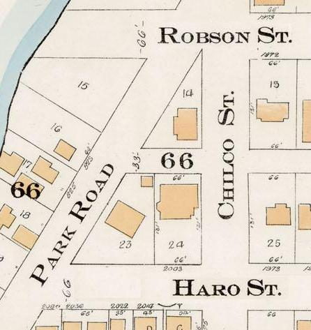 Chilco Street between Robson Street and Haro Street - Detail from Goad's Atlas of the city of Vancouver - 1912 - Vol 1 - Plate 7 - Coal Harbour to Barclay Street