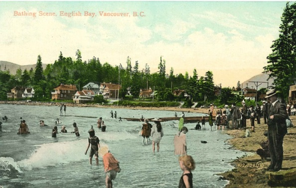 English Bay - Bathing Scene - Postcard - Before 1908