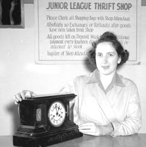 Nora Jane Harrison, with clock at the Junior League thrift shop; September 19, 1942; Vancouver City Archives; CVA 1184-1315; http://searcharchives.vancouver.ca/index.php/store-clerk-miss-nora-jane-harrison-with-clock-at-junior-league-thrift-shop