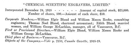 Chemical Scientific Engravers Limited, incorporation; Report of the Secretary of State of Canada for the year ended March 31, 1919, page 107; https://archive.org/stream/1920v56i8p29_1522#page/n106/mode/1up.
