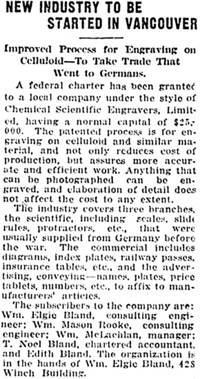 Vancouver Daily World, January 18, 1919, page 14, column 2.
