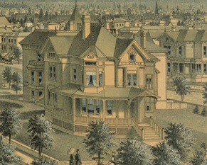 "NW Portland Panorama, 1888; https://vintageportland.files.wordpress.com/2011/03/portland-metropolis-1888.jpg: ""The David Tuthill house is in the right foreground, partially occluding the residence of Dr. Henry E. Jones behind it."""