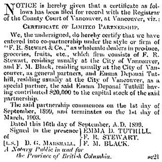 F.R. Stewart and Company, notice of limited partnership, British Columbia Gazette, September 21, 1899, page 1648; https://archive.org/stream/governmentgazett39nogove_i3q2#page/1648/mode/1up.