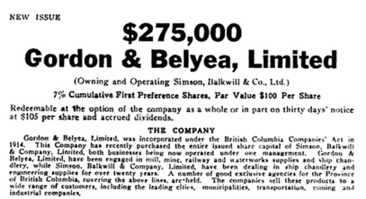 Gordon & Belyea, Limited, issue of shares to provide funds to buy the share capital of Simson, Balkwill and Company, Limited; [portion of advertisement]; Victoria Daily Colonist, January 15, 1929, page 17; https://archive.org/stream/dailycolonist129uvic_14#page/n16/mode/1up/search/simson