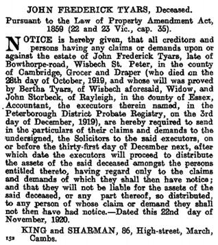 The London Gazette, 26 November, 1920, page 11744, https://www.thegazette.co.uk/London/issue/32139/page/11744/data.pdf