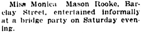 """""""Social and Personal Events,"""" Vancouver Daily World, November 19, 1923, page 7, column 4."""