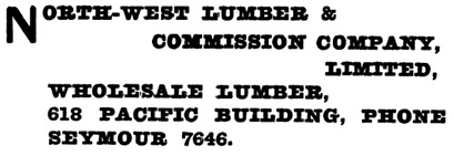 North-West Lumber and Commission Company Ltd - Henderson's Greater Vancouver City Directory - 1917 - page 692