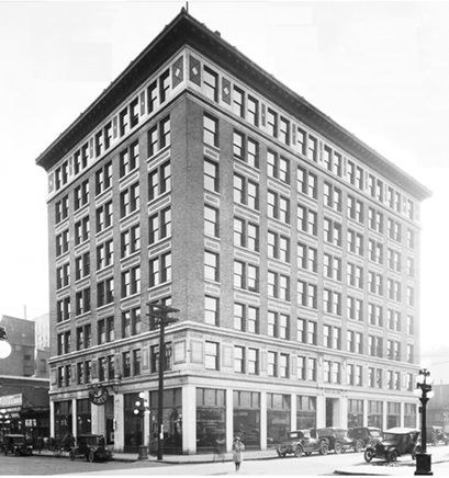 Pacific Building, Vancouver City Archives, Bu N343, about 1921, http://searcharchives.vancouver.ca/pacific-building-at-744-west-hastings-street