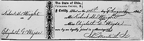 """Ohio, County Marriages, 1789-2013,"" database with images, FamilySearch (https://familysearch.org/ark:/61903/1:1:XD2D-NZN : accessed 4 December 2015), Robert M. Wright and Elizabeth G. Wyse, 14 Aug 1865; citing Cuyahoga, Ohio, United States, reference 275; county courthouses, Ohio; FHL microfilm 877,915."