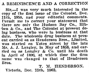 T.M. Henderson, letter to editor, Victoria Daily Colonist, December 12, 1903, page 4, column 2; http://archive.org/stream/dailycolonist19031212uvic/19031212#page/n3/mode/1up.