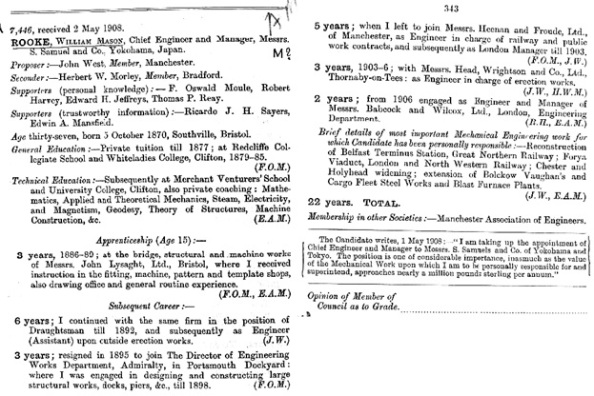 UK, Mechanical Engineer Records, 1847-1930 for William Mason Rooke; Ancestry.com. UK, Mechanical Engineer Records, 1847-1930 [database on-line]. Provo, UT, USA: Ancestry.com Operations, Inc., 2013; Original data: Mechanical Engineering Records, 1847-1930. London, UK: Institution of Mechanical Engineers.