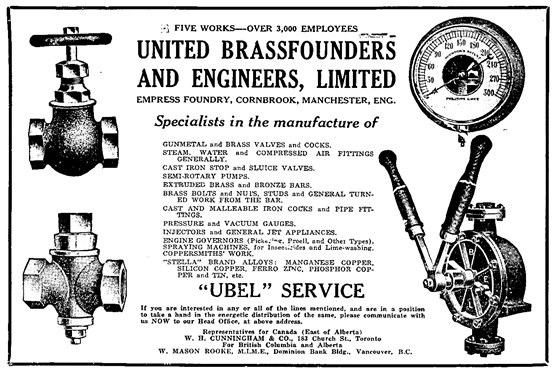 United Brassfounders and Engineers Limited, advertisement, Hardware Merchandising, December 6, 1919, page 26; https://archive.org/stream/hardmerchsepdec1919toro/hardmerchsepdec1919toro#page/n1403/mode/1up.