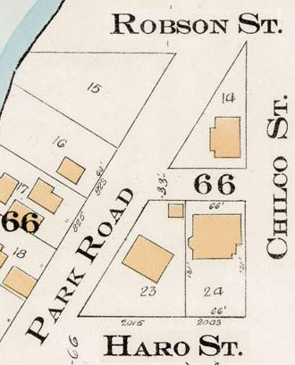 2000 Block Haro Street - North Side - Detail from Goad's Atlas of the city of Vancouver – 1912 – Vol 1 – Plate 8 – Barclay Street to English Bay and Cardero Street to Stanley Park