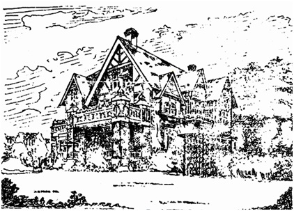"""Builds Larger House,"" Vancouver Province, August 30, 1913, page 3. ""Mr. J.E. Parr, of the firm of Parr, Mackenzie & Day, has just prepared plans, of which the above is an outline elevation, for a fine addition to Mr. Frederick Buscombe's house on his Barclay street corner near Stanley Park."""