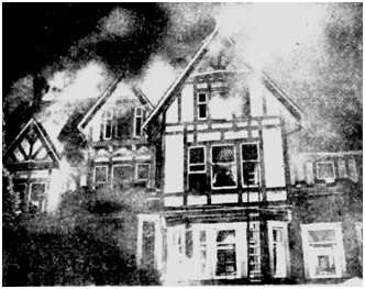 """Vancouver Sun, November 21, 1949, page 34: """"Flames spell doom to the old Buscombe home, 2020 Barclay, Sunday. This picture was snapped as fire hit the roof of the old mansion which had been turned into a boarding house. Damage is estimated at $40,000. Sixteen persons were left homeless."""""""