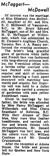 Elizabeth Ann McDowell and Bruce Edward McTaggart, marriage announcement, Toronto Globe and Mail, December 1, 1956, page 23.