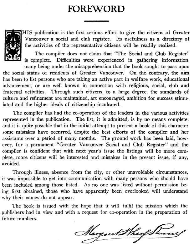 The Greater Vancouver Social and Club Register, 1927, foreword
