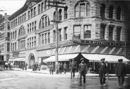 H. McDowell and Company, detail from view of the 400 block Granville Street from West Hastings Street, about 1908, Vancouver City Archives, CVA 677-585; http://searcharchives.vancouver.ca/view-of-400-block-granville-street-from-west-hastings-street.