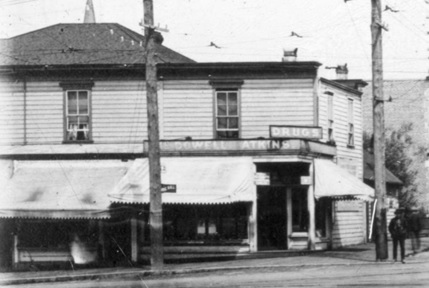McDowell Atkins drug store, detail from Corner Main and Hastings in 1905, Vancouver City Archives, CVA 371-2869; http://searcharchives.vancouver.ca/corner-main-and-hastings-in-1905.