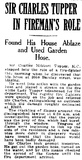 """Sir Charles Tupper in Fireman's Role,"" Vancouver Province, April 9, 1921, page 1"