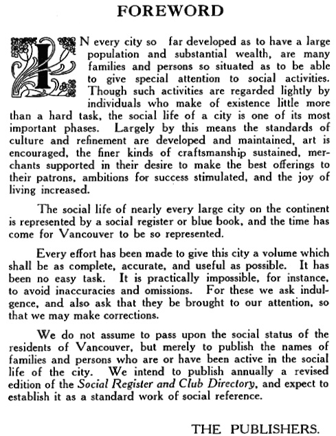 Vancouver Social Directory and Club Register, 1914, Foreword