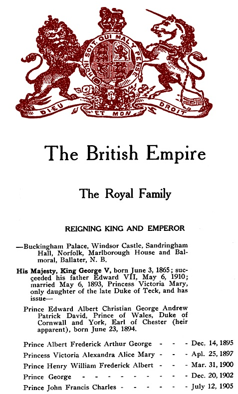 Vancouver Social Directory and Club Register, 1914, The British Empire, The Royal Family, part 1