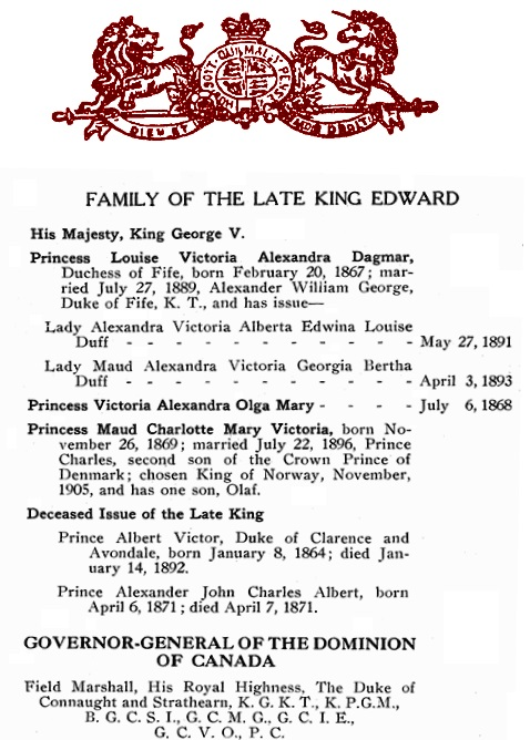 Vancouver Social Directory and Club Register, 1914, The British Empire, The Royal Family, part 2