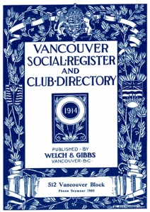 The Vancouver Social Directory and Club Register, 1914, title page