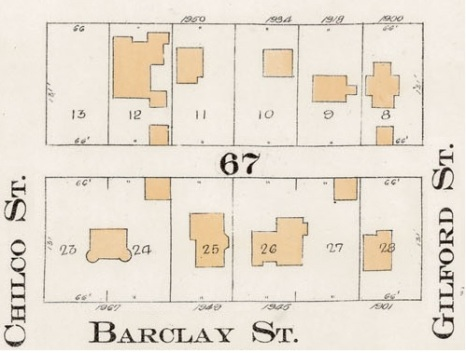 1900 Block Barclay Street - North side - Detail from Goad's Atlas of the city of Vancouver – 1912 – Vol 1 – Plate 7 – Coal Harbour to Barclay Street and Cardero Street to Stanley Park