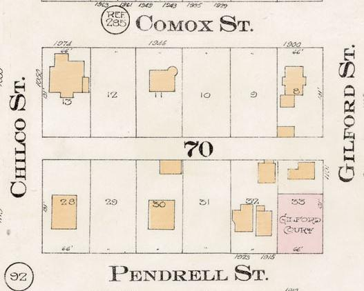 1900 Block Comox Street south -1900 Block Pendrell north - Detail from Goad's Atlas of the City of Vancouver - 1912- Vol 1 - Plate 8