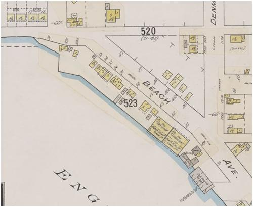 Detail from Insurance plan - City of Vancouver, July 1897, revised June 1901 - Sheet 45 - Comox Street to English Bay and Bidwell Street to Stanley Park
