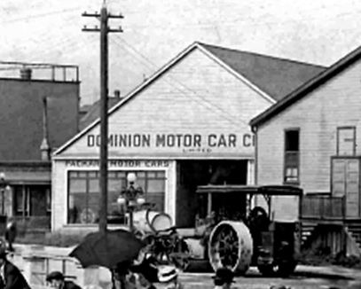 Dominion Motor Car Co Ltd - Detail from Beach Avenue postcard - about 1911-1912