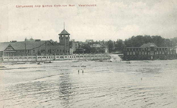 Esplanade and Baths - English Bay - Postcard - about 1910 to 1911