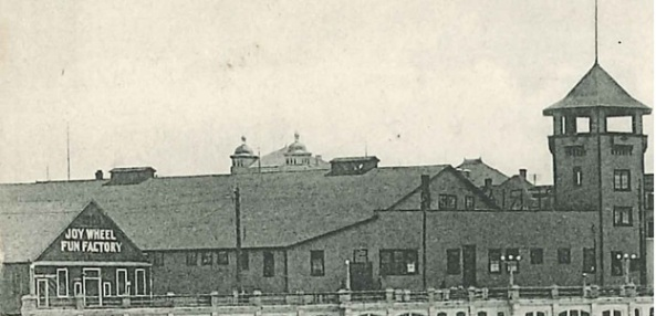 Joy Wheel Fun Factory and Imperial Skating Rink - Detail from postcard - Esplanade and Baths - English Bay - about 1910 to 1911