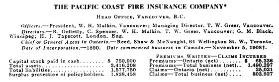 Pacific Coast Fire Insurance Company, Annual Report, Superintendent of Insurance, Ontario Sessional Papers, 1942, number 6, page 56; https://archive.org/stream/n02ontariosession74ontauoft#page/n273/mode/1up