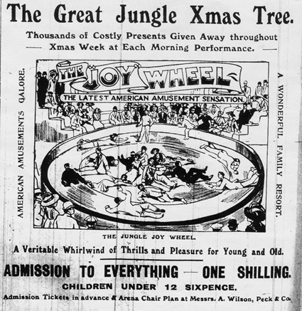 Visual advertisement with new Joy Wheel - Yorkshire Telegraph and Star, 23 December 1910