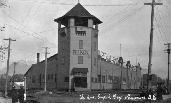 Imperial Roller Skating Rink; postcard; http://digital.lib.sfu.ca/pfp-725/rink-english-bay-vancouver-bc