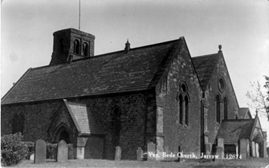 Ven. Bede Church, Jarrow, Published by R. Johnston & Sons of Gateshead in their Monarch Series, http://www.picturesofgateshead.co.uk/postcards_southtyneside2/opcj2w.jpg.
