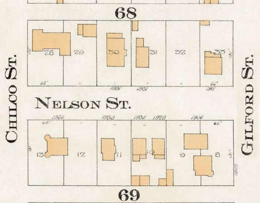1900 Block Nelson Street - Detail from Goad's Atlas of the city of Vancouver - 1912 - Vol 1 - Plate 8 - Barclay Street to English Bay and Cardero Street to Stanley Park