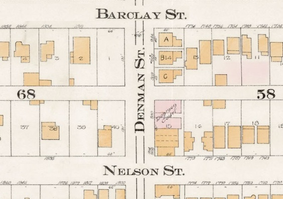 Denman Street between Barclay Street and Nelson Street - detail from Goad's Atlas of the city of Vancouver - 1912 - Vol 1 - Plate 8 - Barclay Street to English Bay and Cardero Street to Stanley Park