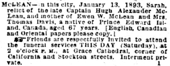Sarah McLean - death notice - San Francisco Morning Call - January 14 1893 - page 8