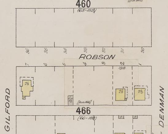 1800 Block Robson Street - Denman Street to Gilford Street - detail from Insurance plan - City of Vancouver, July 1897, revised June 1901 - Sheet 43