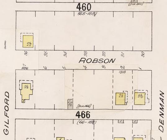 1800 Block Robson Street - Denman Street to Gilford Street - detail from Insurance plan - City of Vancouver, July 1897, revised June 1903 - Sheet 43